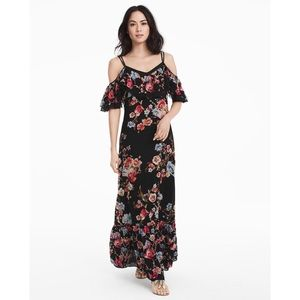 WHBM Cold Shoulder Floral Embroidered Maxi Dress
